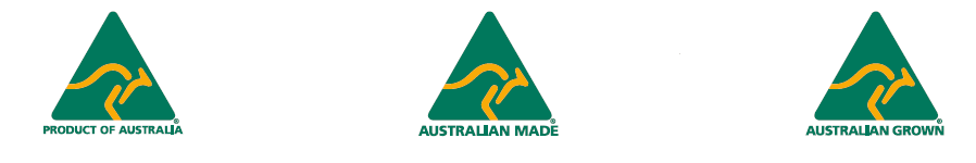 AMCL logos showing a kangaroo in a triangle symbol so you can easily and quickly identify products of Australian origin