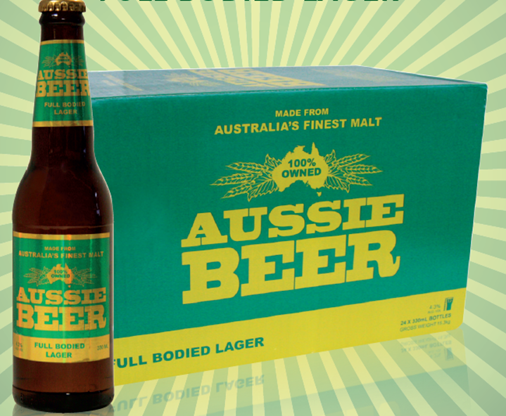Aussie Beer bottle in front of case of beer. Case has a Green Background with gold writing.