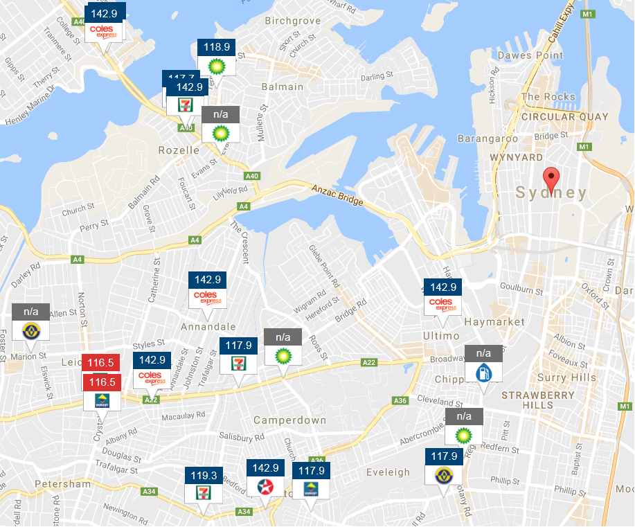 Chart 6- Snapshot from the Fuelcheck website of Sydney E10 prices – 8.50 am, 5 January 2017