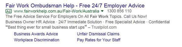 Example of Google Ad run by Employsure with headline 'Fair Work Ombudsman Help'