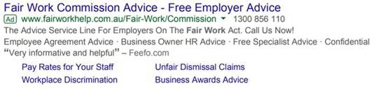 Example of Google Ad run by Employsure with headline 'Fair Work Commission Advice'