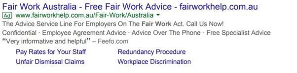 Example of Google Ad run by Employsure with headline 'Fair Work Australia'