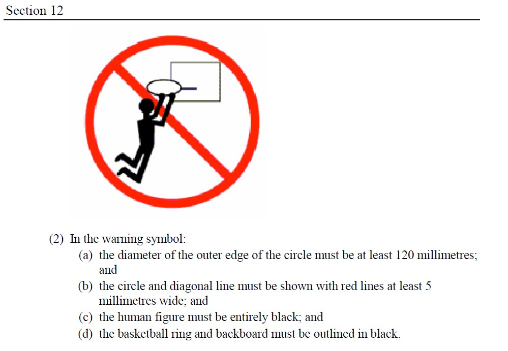Example of warning required for some basketball rings and backboards
