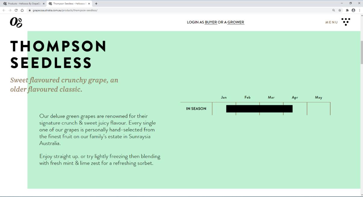 Example of Grape Co misleading representation of origin on website
