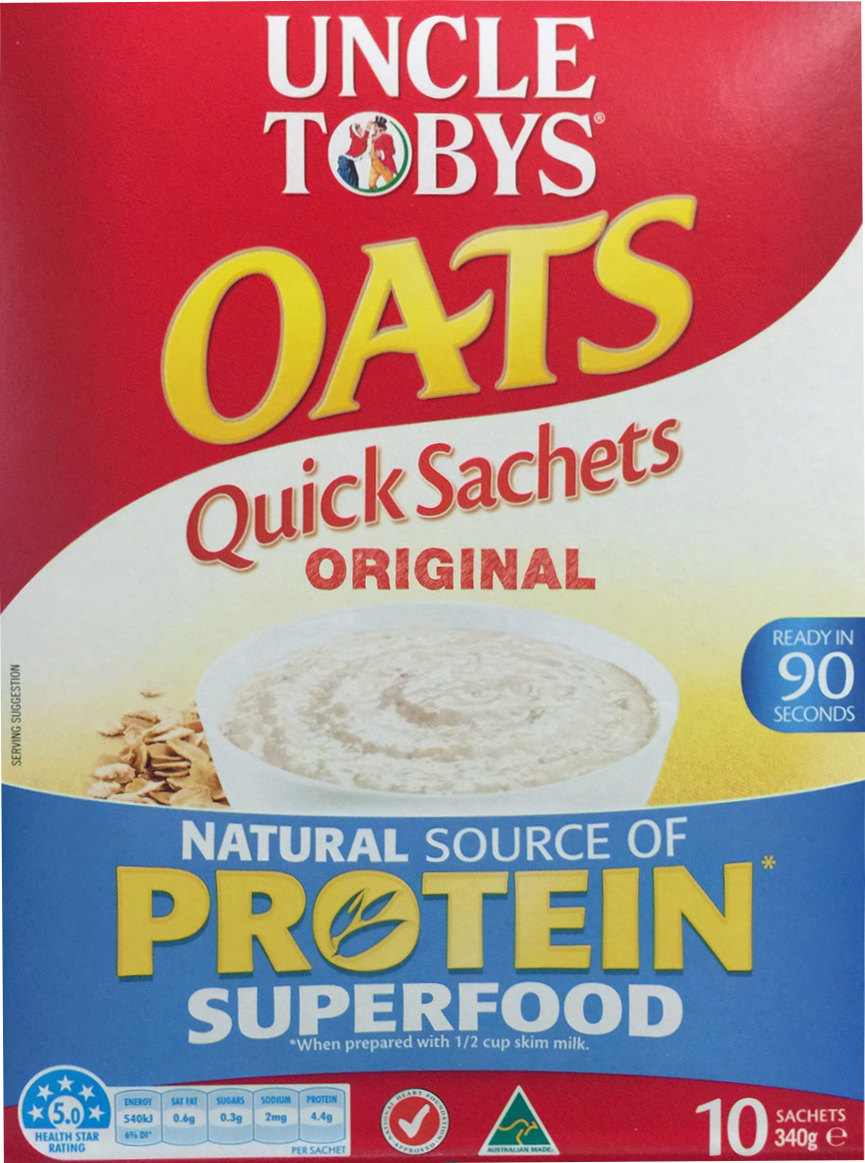 Picture of packaging of Uncle Tobys 'Quick Sachets' oats