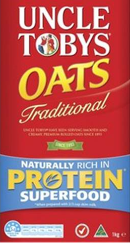Picture of the packaging for Uncle Tobys traditional oats