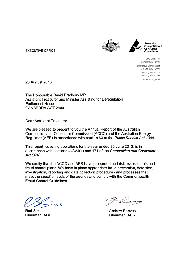 ACCC AER annual report 201213 Letters of transmittal – Letter of Transmittal for Proposal