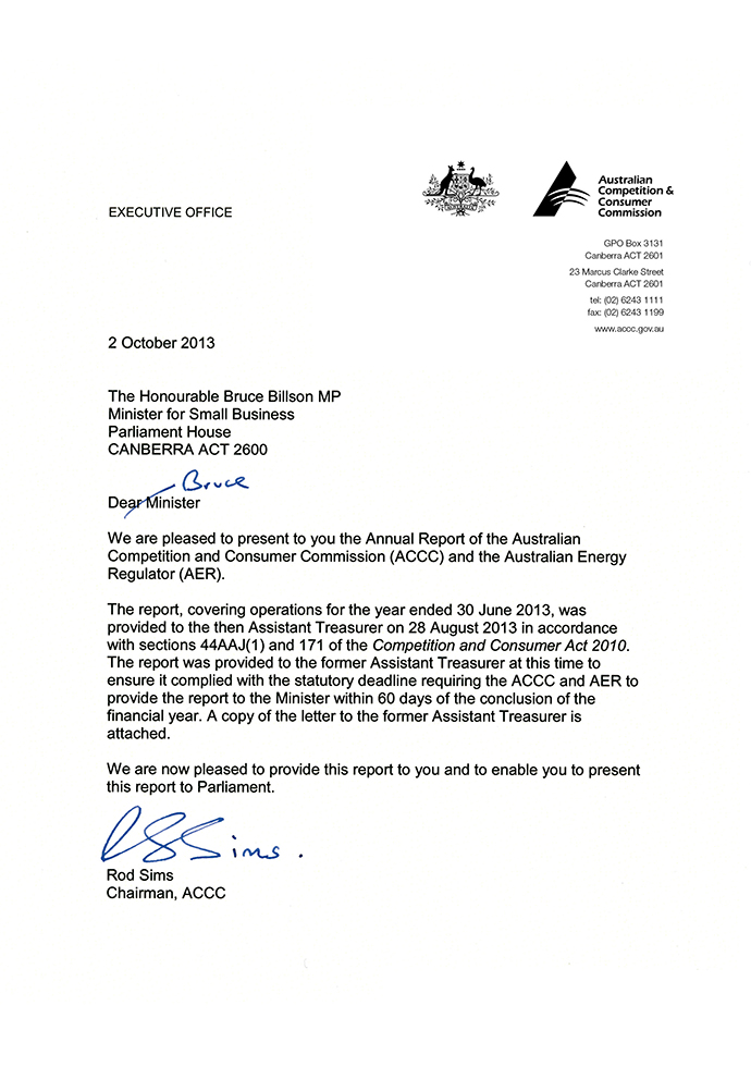 Accc & Aer Annual Report 2012-13 - Letters Of Transmittal | Accc