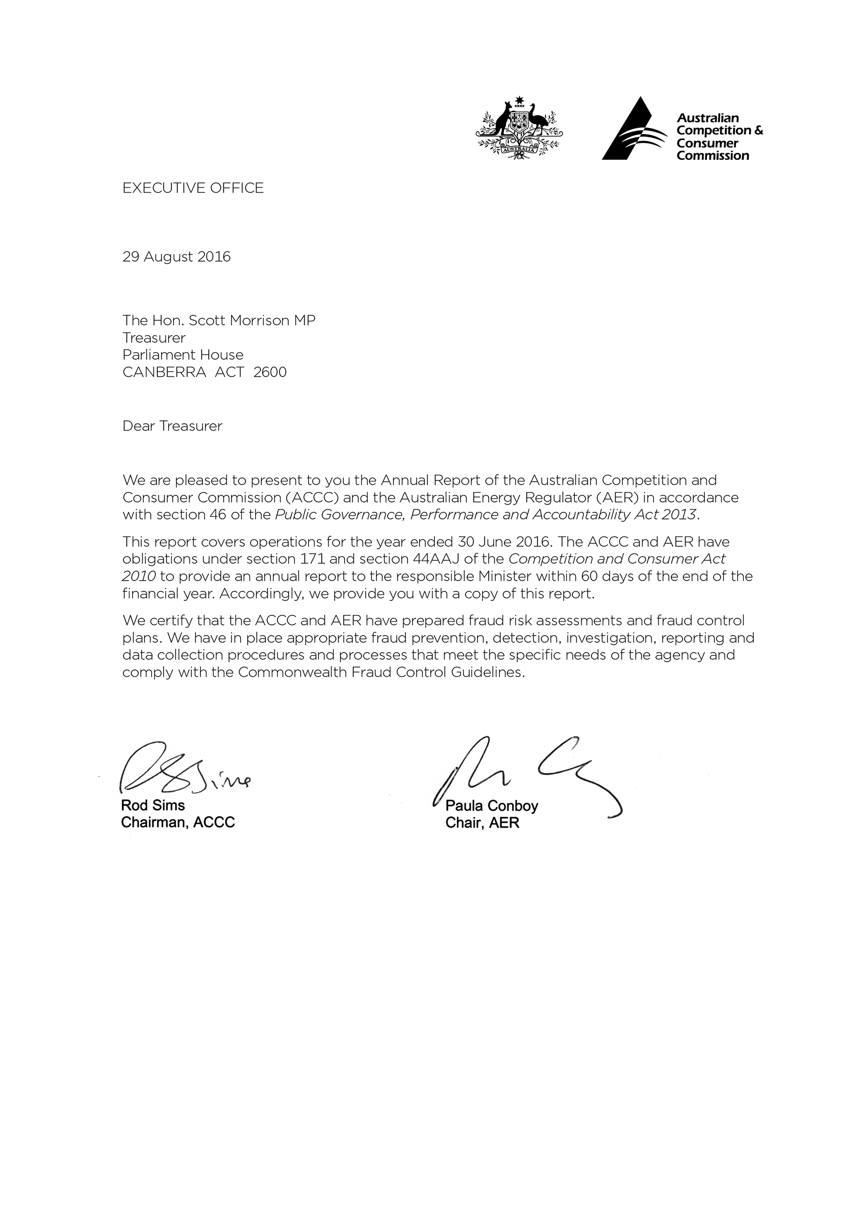 Accc Aer Annual Report 2015 16 Letter Of Transmittal Accc