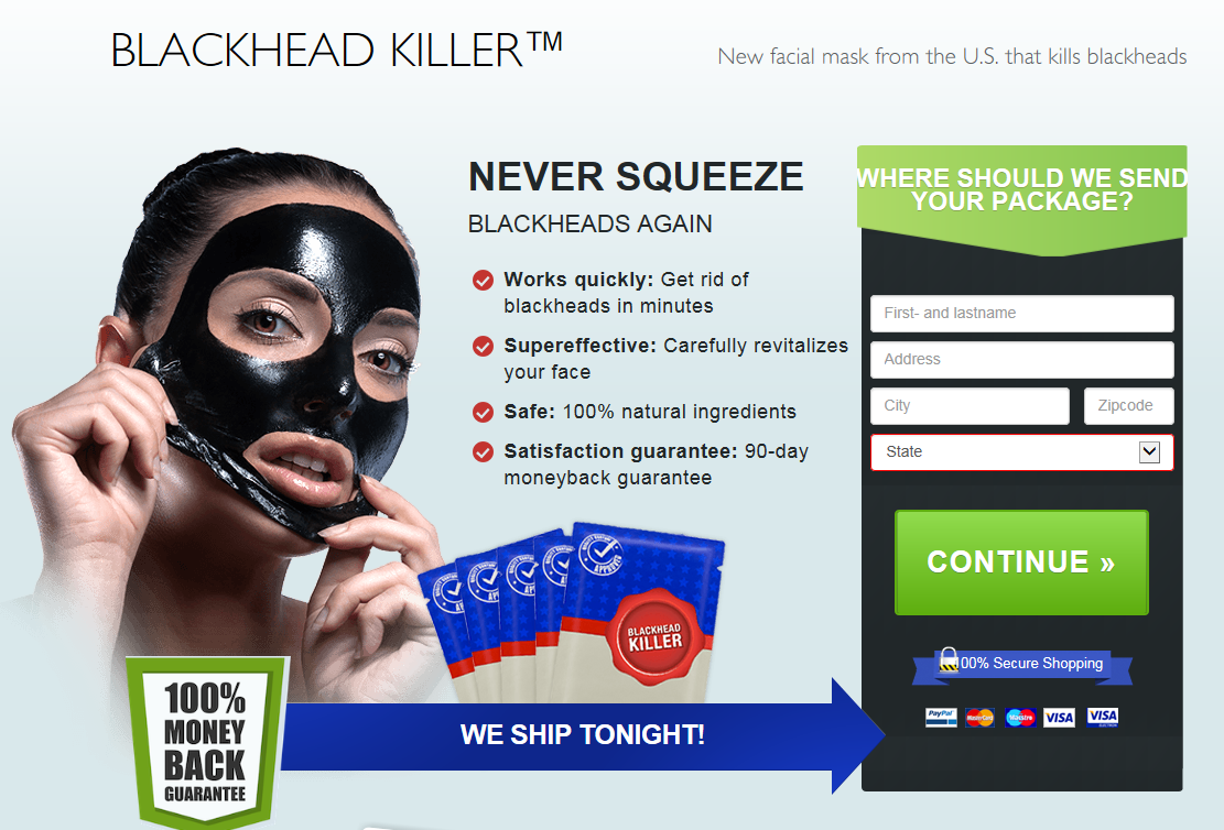 Ad on Digital Sourcing/Luxstyle's website for Blackhead Killer, captured: 9 November 2017
