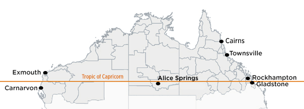 Northern Territory, those parts of Western Australia and Queensland that are north of the Tropic of Capricorn, and some areas just south of the tropic, including Carnarvon and Gladstone.