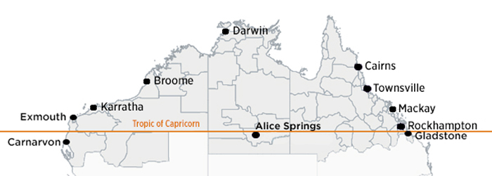 The map marks the Tropic of Capricorn and shows well-known towns in northern Australia, including the towns that the ACCC is holding public forums in.