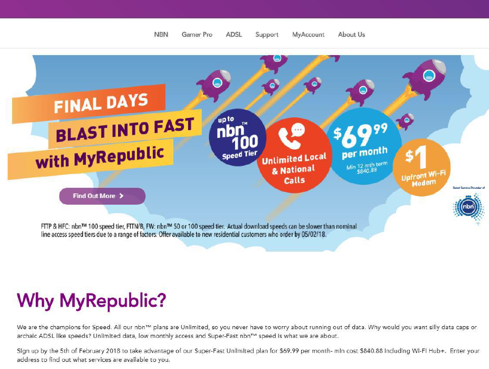 MyRepublic pays penalties for NBN speed claims | ACCC