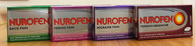 The four products, Nurofen Back Pain, Nurofen Period Pain, Nurofen Migraine Pain and Nurofen Tension Headache.