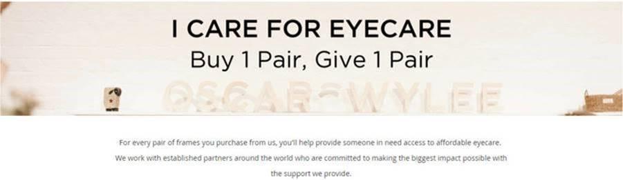 Buy 1 pair, give 1 pair - Oscar Wylee marketing claim