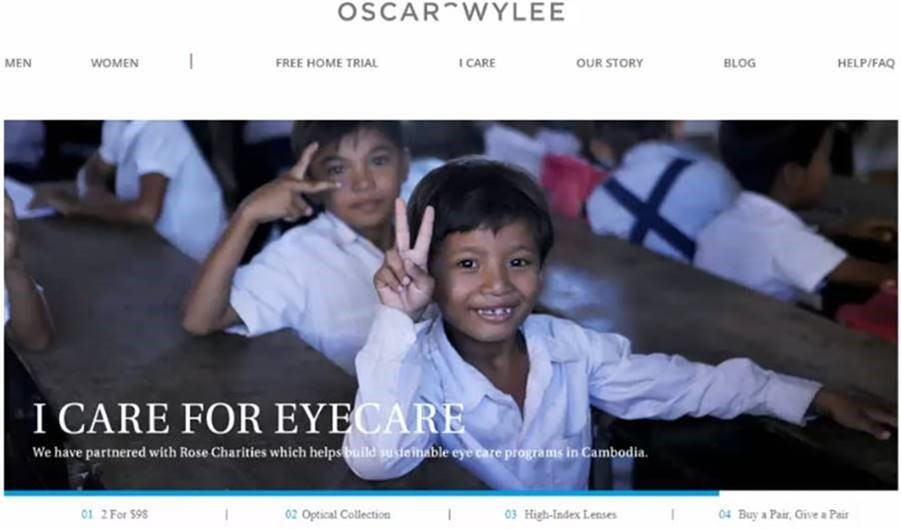 We have partnered with Rose Charities which helps build sustainable eyecare programs in Cambodia - Oscar Wylee marketing claim