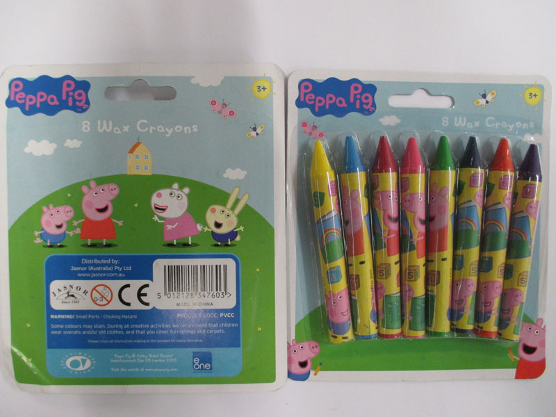 Photograph of the Peppa Pig 8 wax crayons