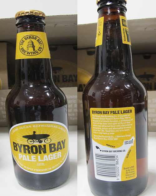 Front and back labels of 300ml Byron Bay Pale Lager