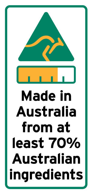 A graphic and text-based label which is mandatory for priority food items grown, produced or made in Australia, comprising of a kangaroo in a triangle, a bar chart and text.