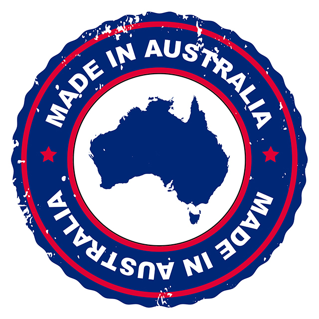 A stamp with text 'Made in Australia' and picture of map