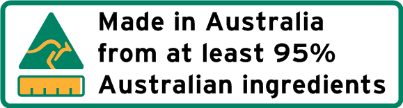 Logo showing kangaroo inside triangle to indicate country of origin