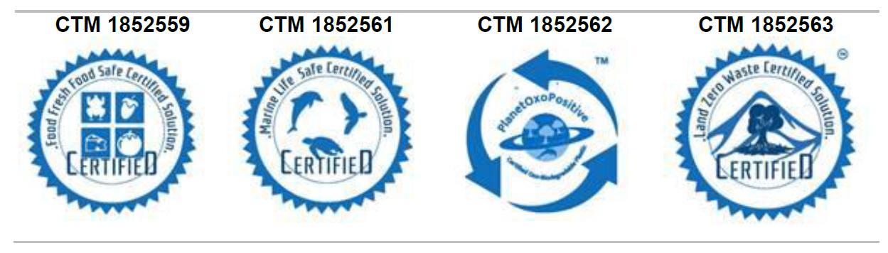 OxoPak certification trademarks