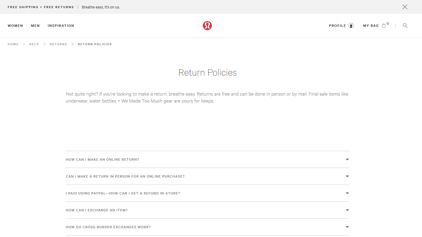 Screenshot of the Lululemon's website