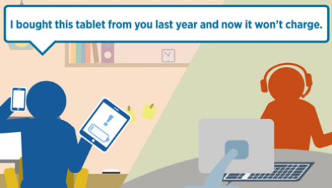 Animation image showing a customer with a dud tablet telling the shop assistant: I bought this tablet from you last year and now it won't charge.