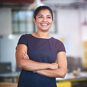 Woman smiling in workplace