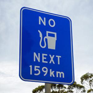 Sign saying no petrol for 159 kms