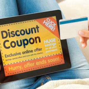 Discount coupon on tablet