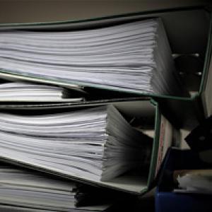 Paperwork in folders