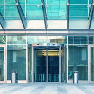 Facade of bank building