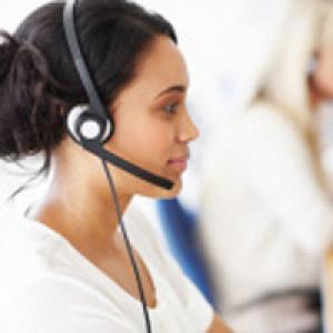 Woman wearing phone headset