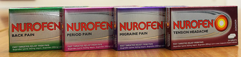 I quattro prodotti, Nurofen Back Pain, Nurofen Periodo dolore, Nurofen Emicrania Dolore e Nurofen cefalea tensiva.