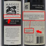 Maggie Beer Products Aged Red Wine Vinegar with labelling issues highlighted