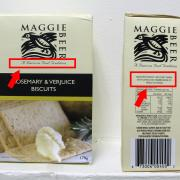 Maggie Beer Products Rosemary and Verjuice Biscuits with labelling issues highlighted