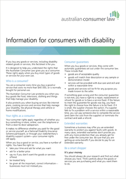 For Consumers >> Consumers With Disability Accc