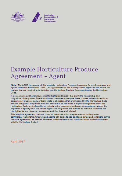 Example Horticulture Produce Agreement Agent Accc