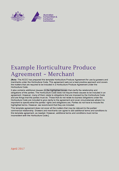 Example Horticulture Produce Agreement Merchant Accc